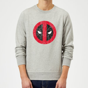 Sweat Homme Deadpool (Marvel) Deadpool Logo Craqué - Gris