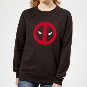 Marvel Deadpool Cracked Logo Women's Sweatshirt - Black