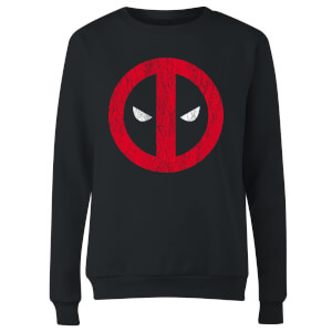 Marvel Deadpool Cracked Logo Women's Sweatshirt - Black