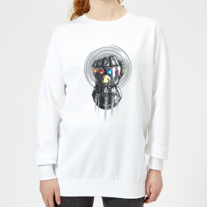 Marvel Avengers Infinity War Thanos Infinite Power Fist Women's Sweatshirt - White