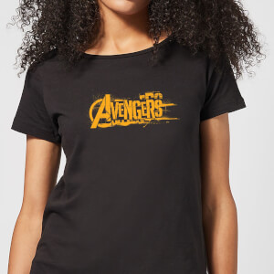 Marvel Avengers Infinity War Orange Logo Damen T-Shirt - Schwarz