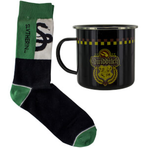 Harry Potter Slytherin Quidditch Zinntasse und Socken Set