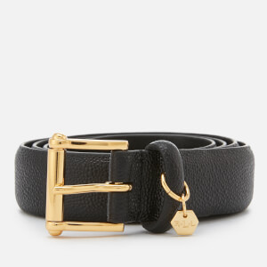 Lauren Ralph Lauren Women's Endbar Embossed Leather Belt - Black