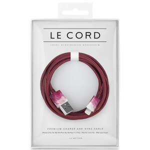 Le Cord Braided Marble Effect Charging Cable - Aquarelle Plum - 1.2m