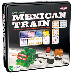 Mexican Train in Tin - 91 Double 12 Dominoes Game