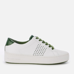 MICHAEL MICHAEL KORS Women's Poppy Perforated Leather Lace Up Trainers - Optic White/Green