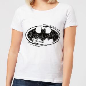 Camiseta DC Comics Batman Logo Sketch - Mujer - Blanco