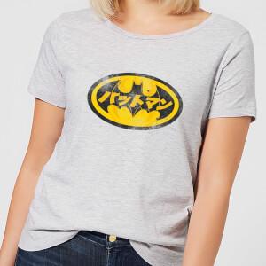 Camiseta DC Comics Batman Logo Japonés - Mujer - Gris