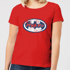 Camiseta DC Comics Batman Logo Japonés - Mujer - Rojo