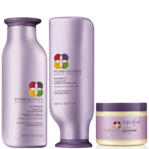 Produkttrio med Pureology Hydrate Colour Care sjampo, balsam og Superfood-maske