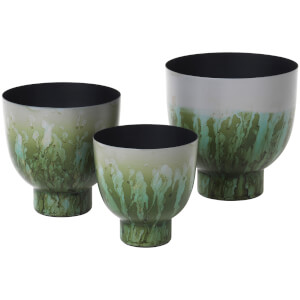 Broste Copenhagen Eik Iron Flowerpot - Drizzle Chinos Green (Set of 3)