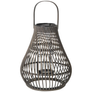 Broste Copenhagen Twist Bamboo T Light Lantern - Dark Grey