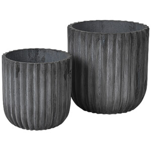 Broste Copenhagen Indoor/Outdoor Fiberclay Flowerpot - Charcoal (Set of 2)