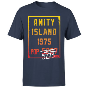 T-Shirt Homme Les Dents de la mer - Population d'Amity - Bleu Marine