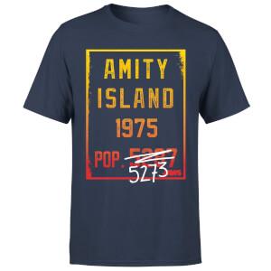 T-Shirt Lo Squalo Amity Population - Blu Navy
