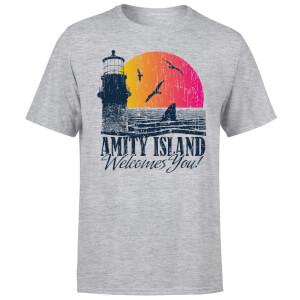 T-Shirt Homme Les Dents de la mer - Bienvenue à Amity Island - Gris