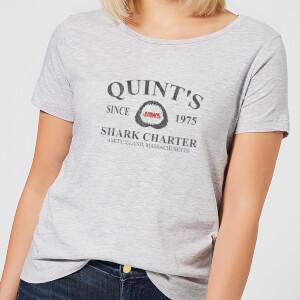 Camiseta Tiburón Quint's Shark Charter - Mujer - Gris