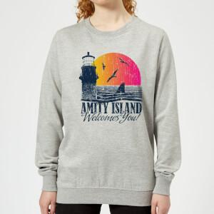 Sweat Femme Les Dents de la mer - Bienvenue à Amity Island - Gris