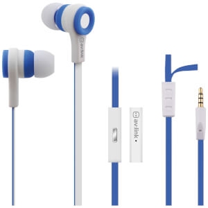 AV: Link Rubberised Tangle Free Cable Earphones with Mic - White/Blue