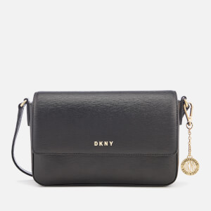 DKNY Women's Bryant Medium Sutton Textured Leather Flap Cross Body Bag - Black
