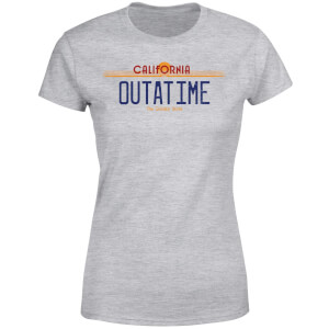 T-Shirt Femme Retour vers le Futur - Plaque Immatriculation Outatime - Gris