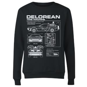 Sweat Femme Retour vers le Futur - Schéma de la DeLorean - Noir