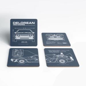 Dessous de Verre Schéma DeLorean - Retour vers le Futur