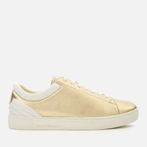 Emporio Armani Women's Alana Metallic Low Top Trainers - Gold/Optical White