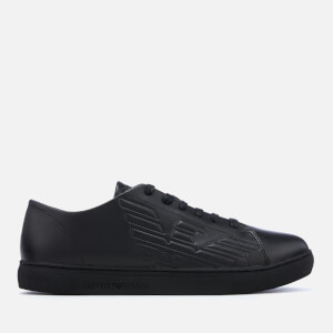 Emporio Armani Men's Leather Low Top Trainers - Black