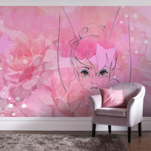 Disney Tinkerbell Watercolour Rose Wall Mural