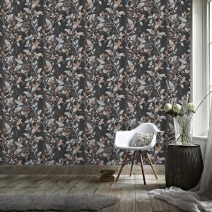 Boutique Charcoal/Copper Vermeil Floral Wallpaper