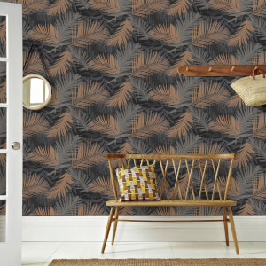 Boutique Black/Gold Jungle Glam Tropical Wallpaper