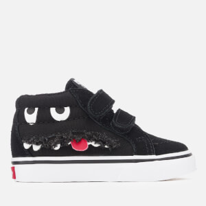 Vans Toddlers' Sk8-Mid Reissue Velcro Monster Face Trainers - Black/True White
