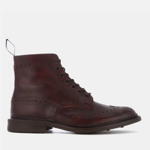 Tricker's Men's Stow Museum Leather Brogue Lace Up Boots - Burgundy