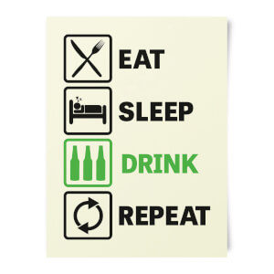 Beershield Eat Sleep Game Repeat Art Print
