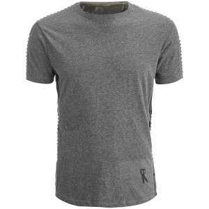 Ringspun Men's Honda Ribbed Shoulder T-Shirt - Dark Grey Marl