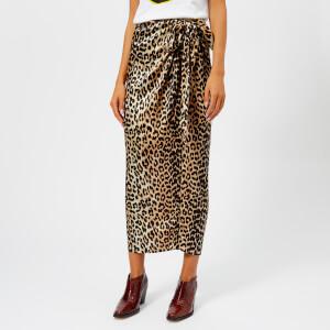 Ganni Women's Calla Silk Skirt - Leopard
