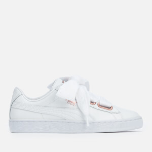 Puma Women's Basket Heart Leather Trainers - Puma White/Rose Gold