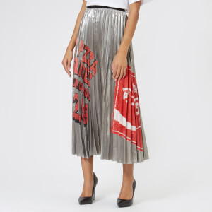 Marc Jacobs Women's Metallic Pleated Skirt - Silver