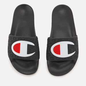 Champion Men's Logo Pool Slide Sandals - Black