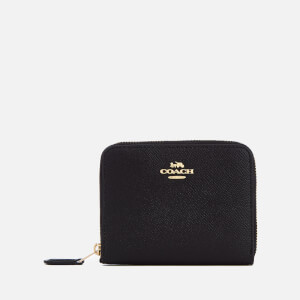 Coach Women's Crossgrain Leather Small Zip Around Wallet - Black