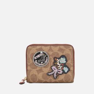 Coach Women's Patchwork Signature Small Zip Around Wallet - Rust
