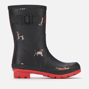 Joules Women's Molly Mid Height Wellies - Black Jumper Dogs