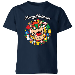 Nintendo Super Mario Bowser Merry Christmas Wreath Kid's T-Shirt - Navy