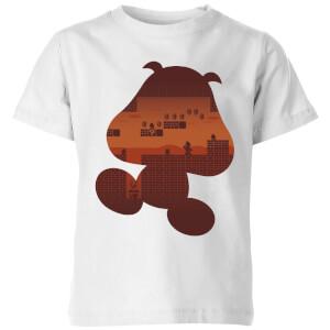 Nintendo Super Mario Goomba Silhouette Kinder T-Shirt - Weiß