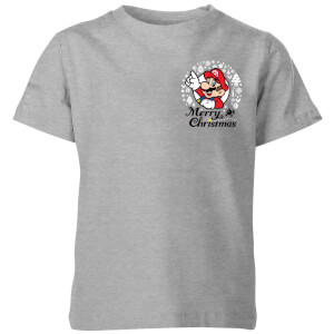 Nintendo Super Mario Mario Merry Christmas Pocket Wreath Kid's T-Shirt - Grey