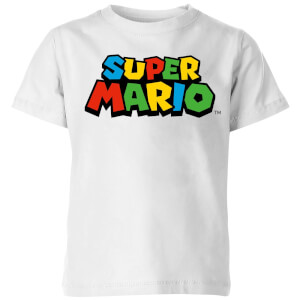 Nintendo Super Mario Colour Logo T-shirt Kinder T-shirt - Wit