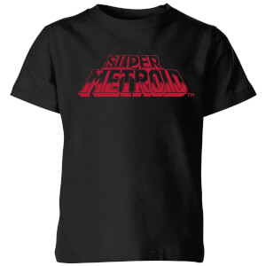 Nintendo Super Metroid Retro Logo Kid's T-Shirt - Black