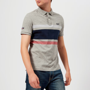 Superdry Men's Classic Hardwick Stripe Short Sleeve Polo Shirt - Harbour Grey Grindle