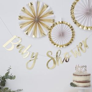 "Ginger Ray ""Baby Shower"" Backdrop - Gold"